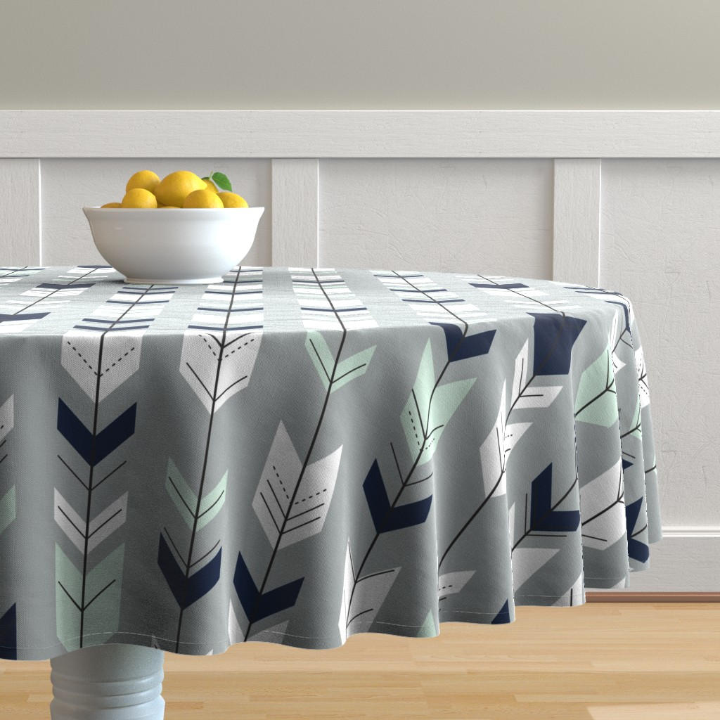 Malay Round Tablecloth featuring Fletching Arrow // Northern Lights - Grey by littlearrowdesign