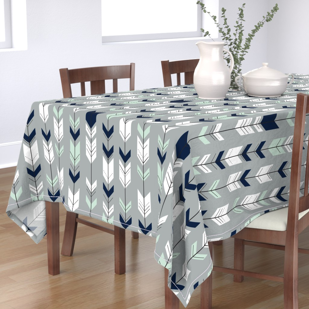 Bantam Rectangular Tablecloth featuring Fletching Arrow // Northern Lights - Grey by littlearrowdesign