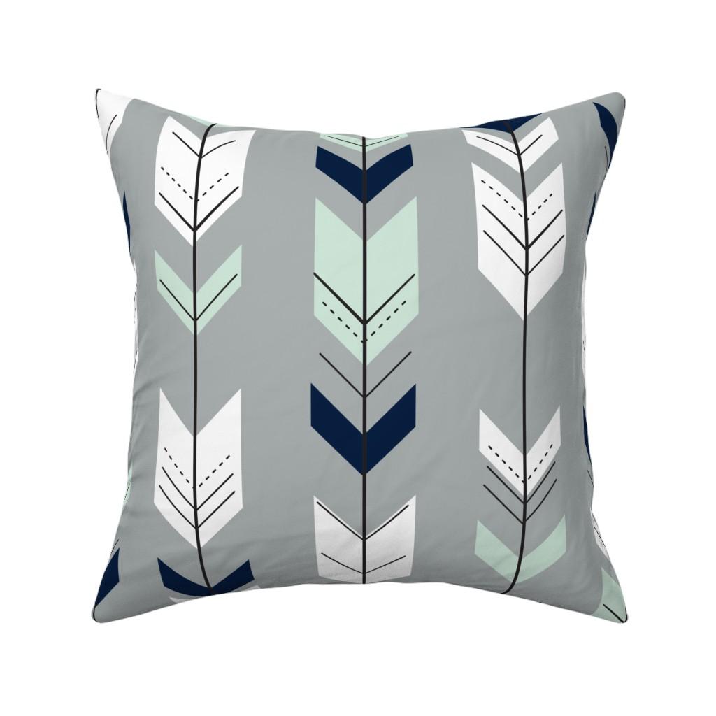 Catalan Throw Pillow featuring Fletching Arrow // Northern Lights - Grey by littlearrowdesign