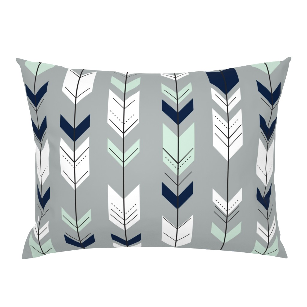 Campine Pillow Sham featuring Fletching Arrow // Northern Lights - Grey by littlearrowdesign