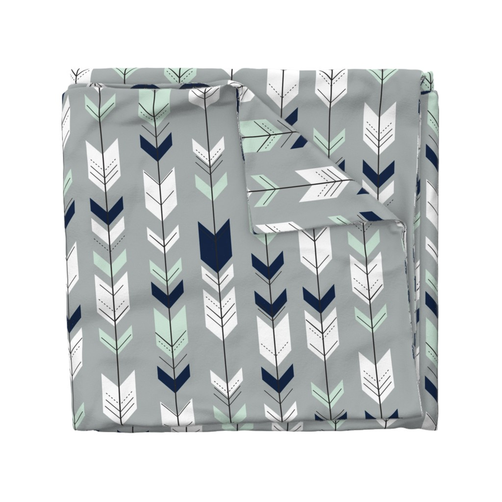 Wyandotte Duvet Cover featuring Fletching Arrow // Northern Lights - Grey by littlearrowdesign