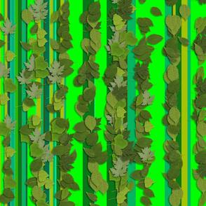 Green Leaves Stripes