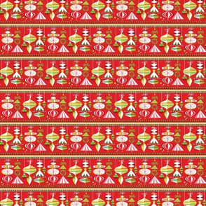 Carnival Ornaments on Red - Small