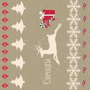 Rain deer Candy Cane Snowing VERTICAL-personalized CAROLINA