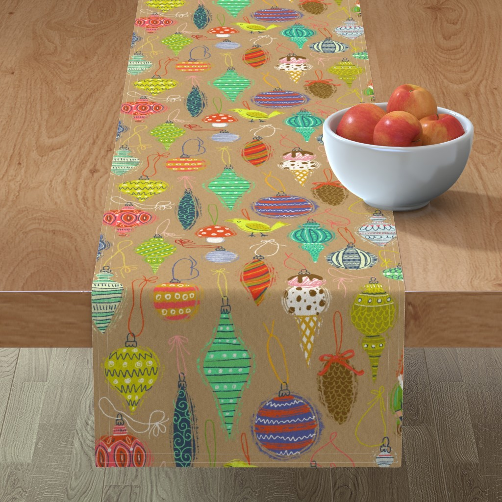 Minorca Table Runner featuring Ornaments on Craft Paper by kirsten_sevig