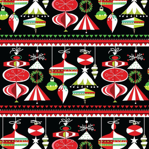 Carnival Ornaments Peppermint on Black