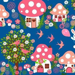 Scandinavian  Bunny Forest, fungi houses