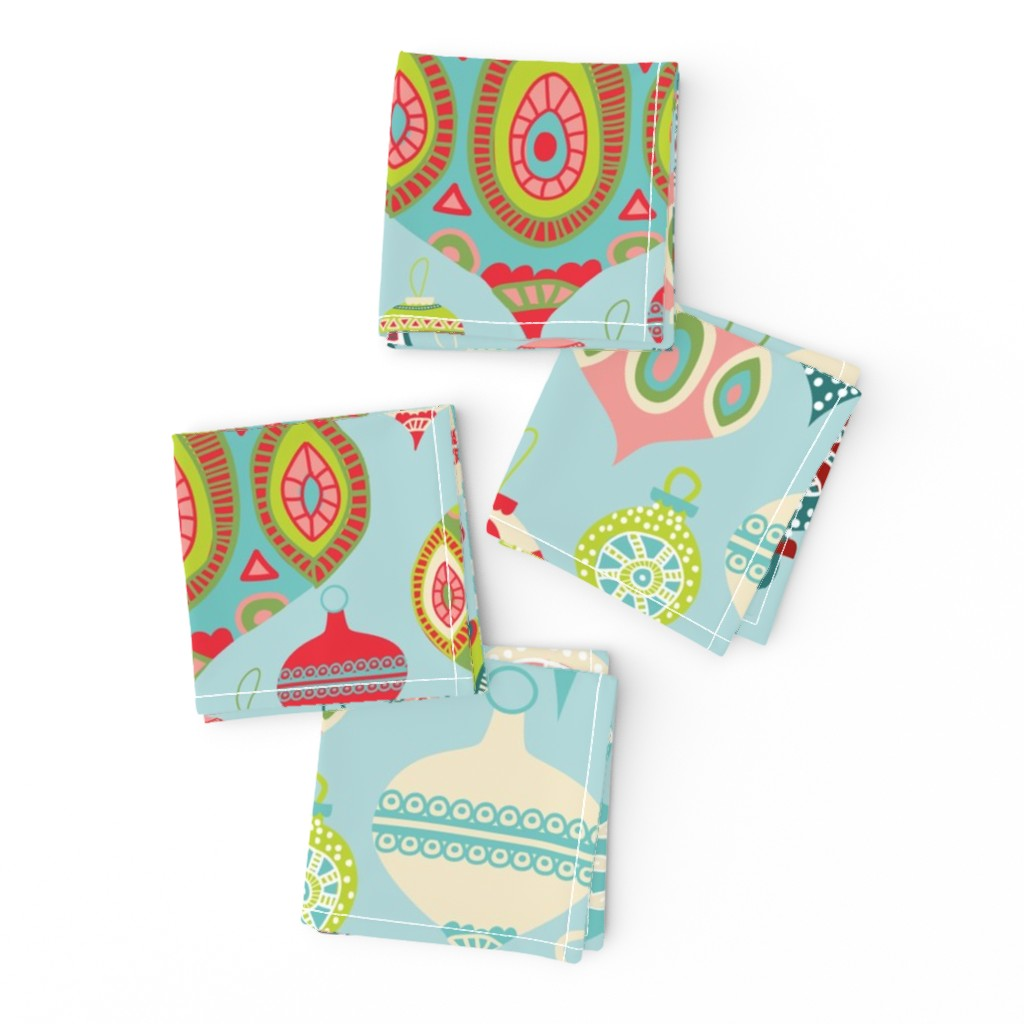 Frizzle Cocktail Napkins featuring Christmas Ornaments by honeyinthewild