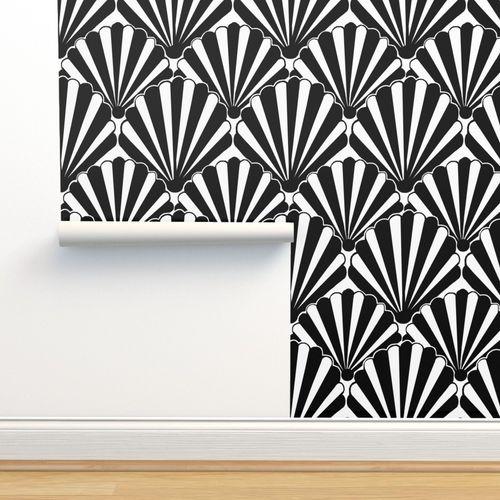 Wallpaper Art Deco Shell Black White