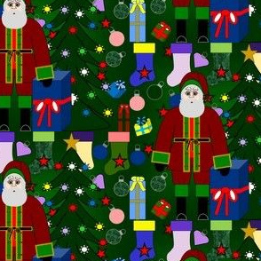 Santa Loves Christmas Trees, Stockings, Presents & Christmas Tree Bulbs Fabric