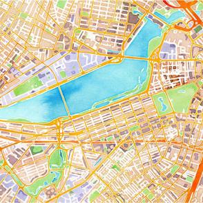 Boston watercolor map * blanket size*