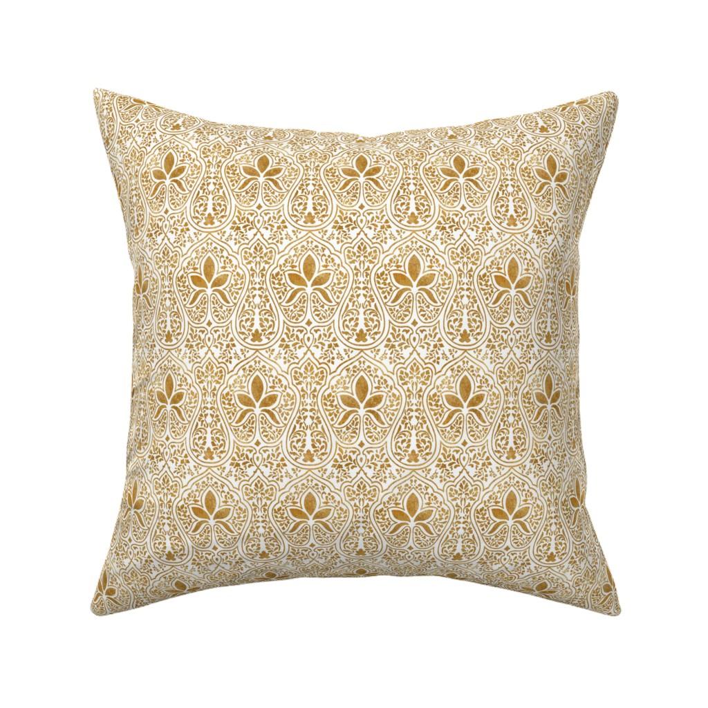 Catalan Throw Pillow featuring Rajkumari ~ White and Gilt Gold ~ Batik  by peacoquettedesigns