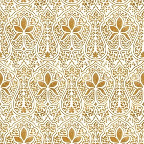 Rajkumari ~ White and Gilt Gold ~ Batik
