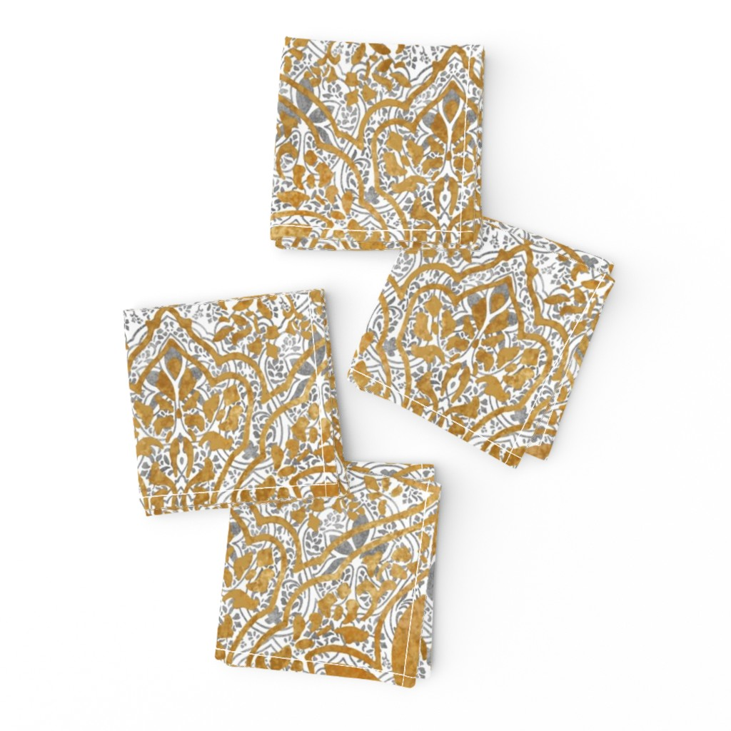 Frizzle Cocktail Napkins featuring Rajkumari ~ White with Silvered and Gilt Gold ~ Batik by peacoquettedesigns