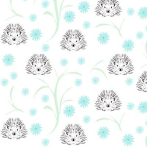 Hedgehogs and flowers blue
