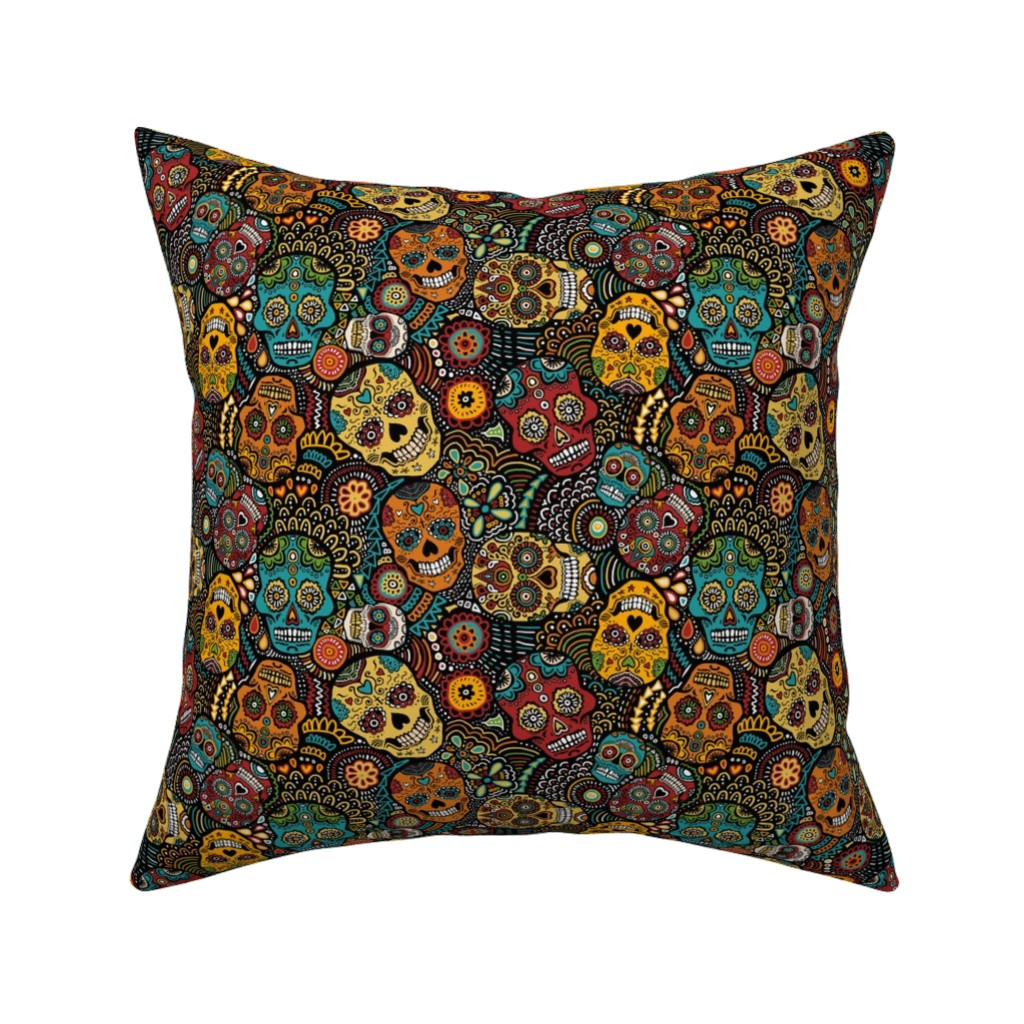 Catalan Throw Pillow featuring mexican sugar skulls EXTRA SMALL by lusykoror