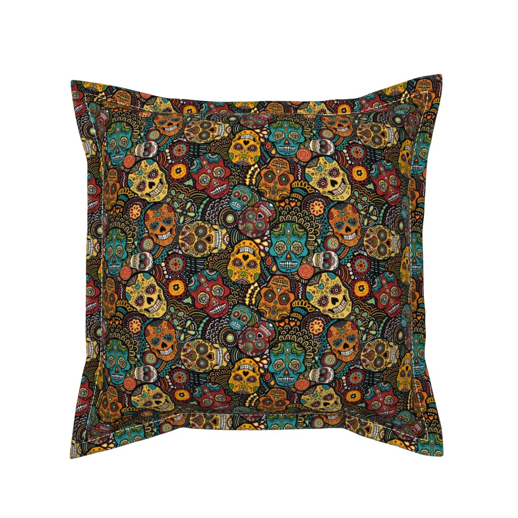 Serama Throw Pillow featuring mexican sugar skulls EXTRA SMALL by lusykoror