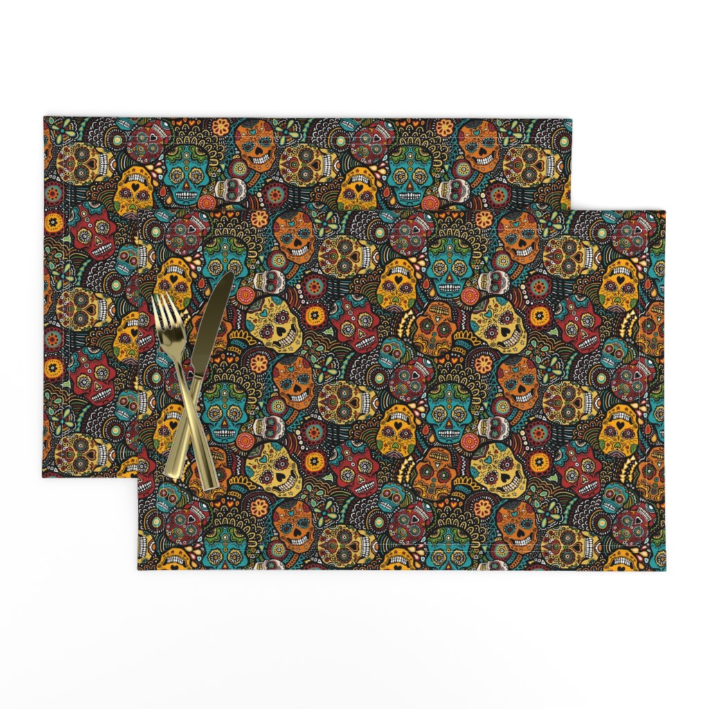 Lamona Cloth Placemats featuring mexican sugar skulls EXTRA SMALL by lusykoror