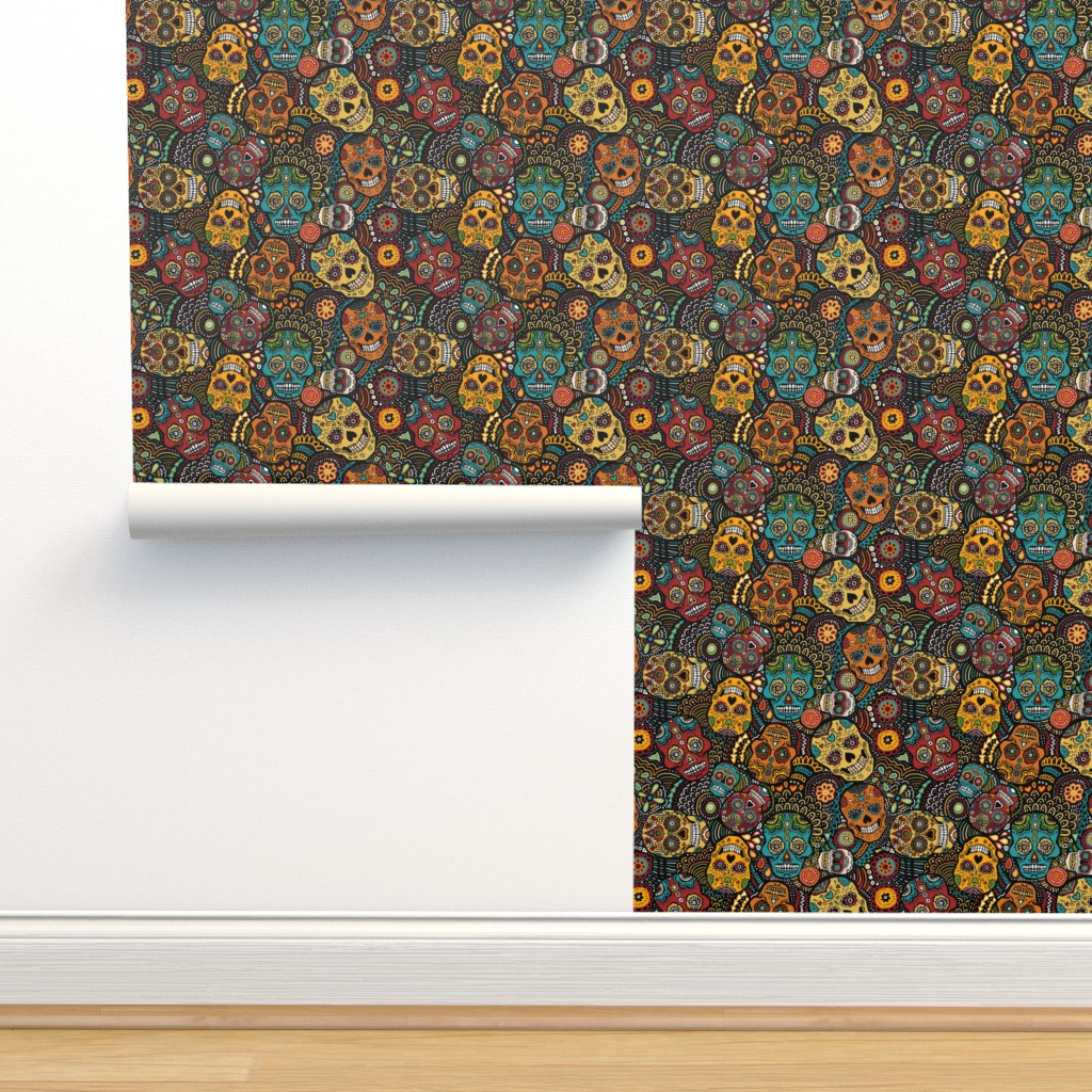 Isobar Durable Wallpaper featuring mexican sugar skulls EXTRA SMALL by lusykoror