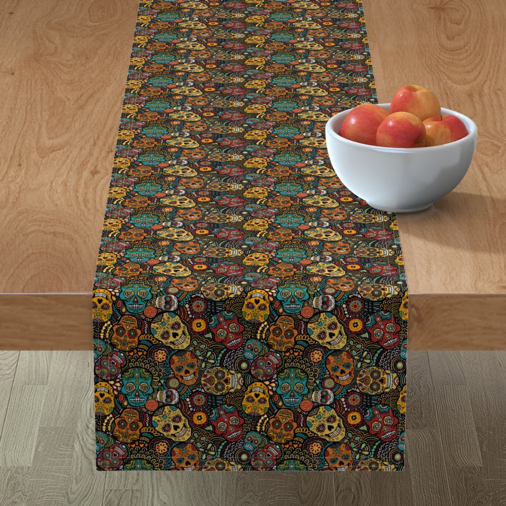 Minorca Table Runner featuring mexican sugar skulls EXTRA SMALL by lusykoror