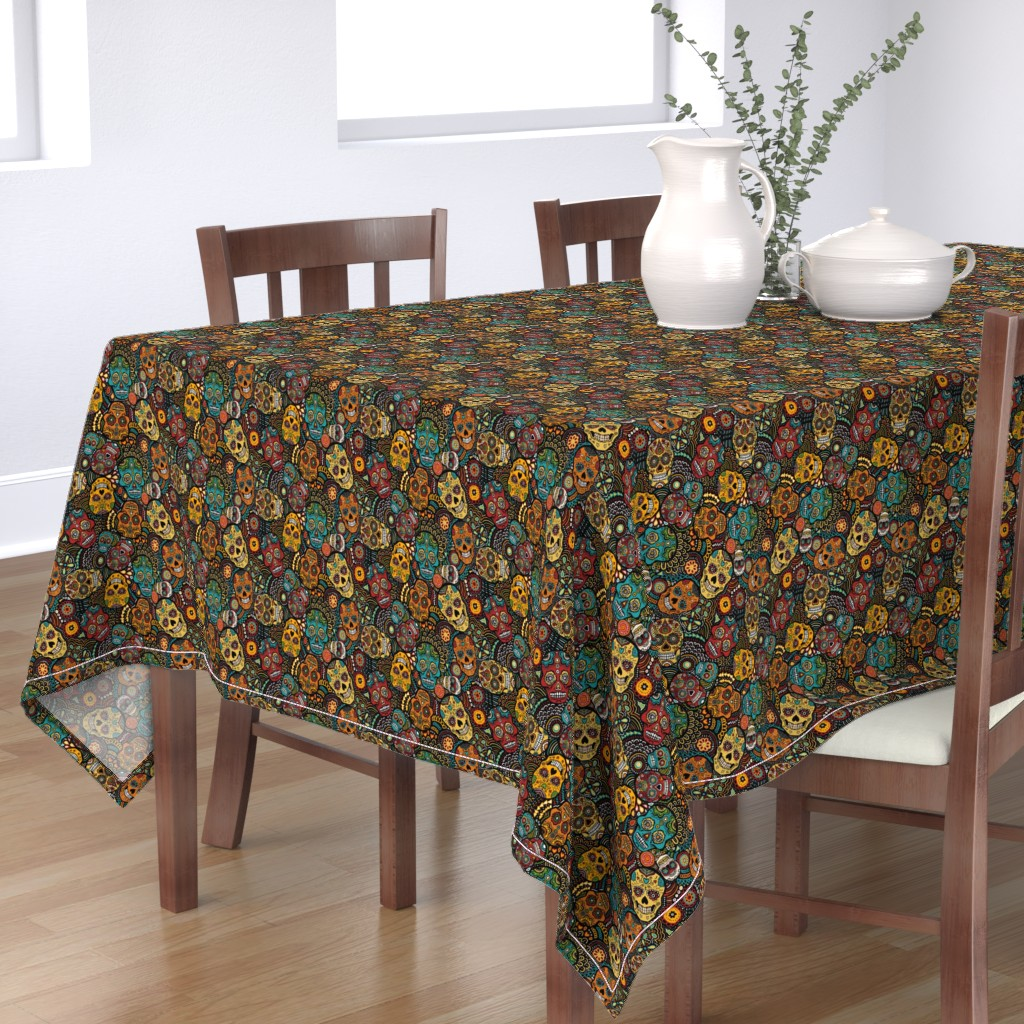 Bantam Rectangular Tablecloth featuring mexican sugar skulls EXTRA SMALL by lusykoror