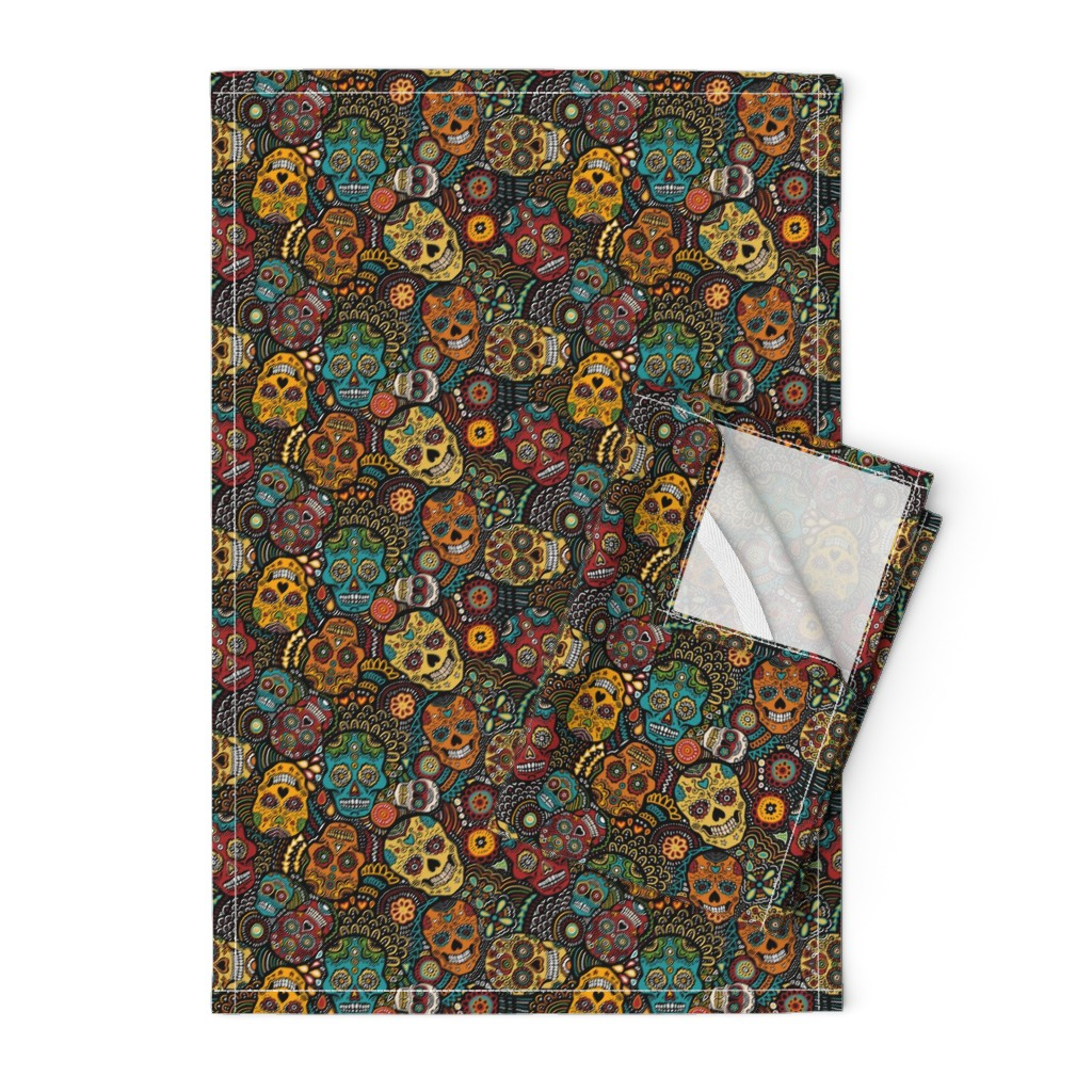 Orpington Tea Towels featuring mexican sugar skulls EXTRA SMALL by lusykoror