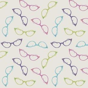 Ditsy Cats Eye Glasses in Pink, Purple, Blue and Green ©Jennifer Garrett