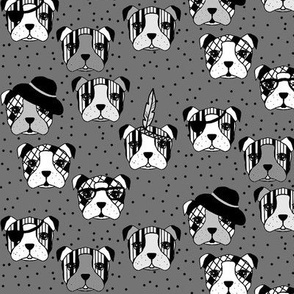 Accessorised dogs and dots grey
