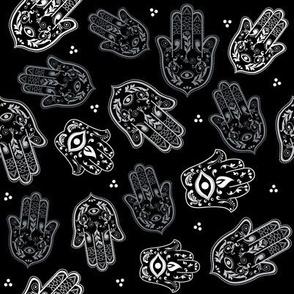 Hamsa Hand in Grayscale