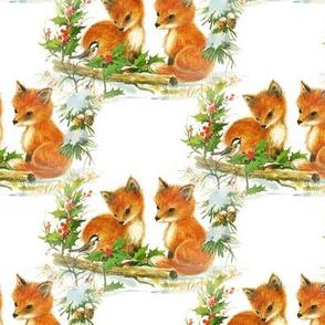 Fox Babies VIntage Christmas