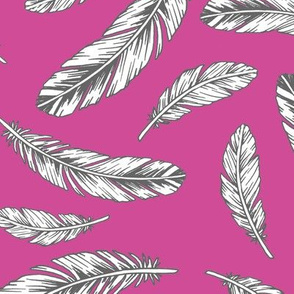 feathers - berry