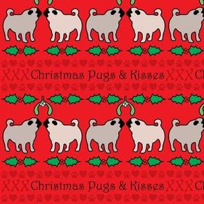 christmas pugs & kisses - gift wrap