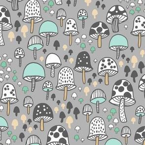 mushrooms - grey and aqua