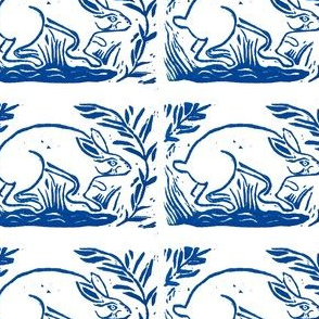 Rabbit block print