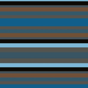Blue Brown Black Horizontal Stripe