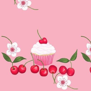 Cherry Blossom Cherry Cup Cakes