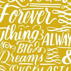 Forever Love Lettering - mustard