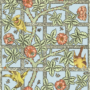 William Morris ~ Birds on A Trellis ~ Yellow Birds on Vow  ~ Large