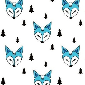 fox and trees blue