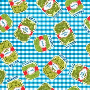 Pickle Jars On A Picnic Background