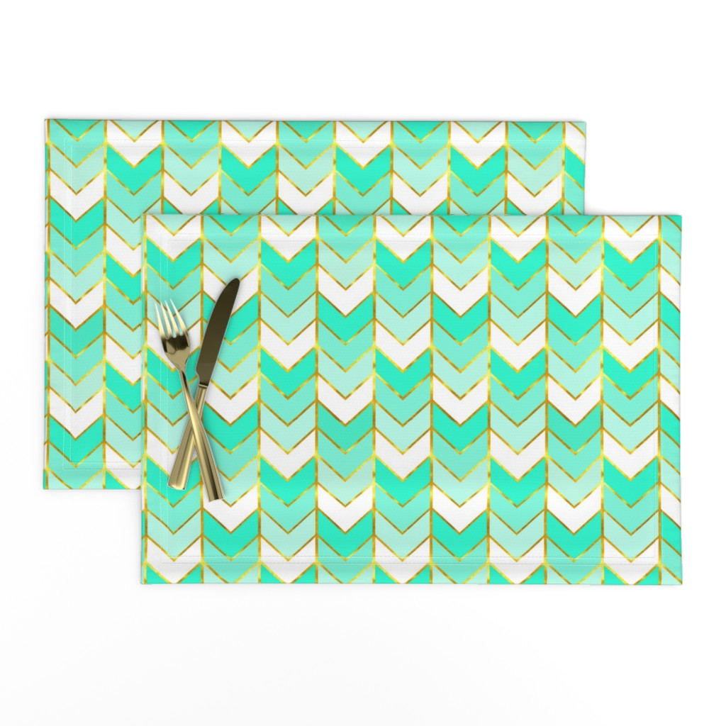 Lamona Cloth Placemats featuring Gilded Ombre Herringbone in Mint by willowlanetextiles