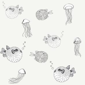 Jellyfish and Pufferfish on Cream