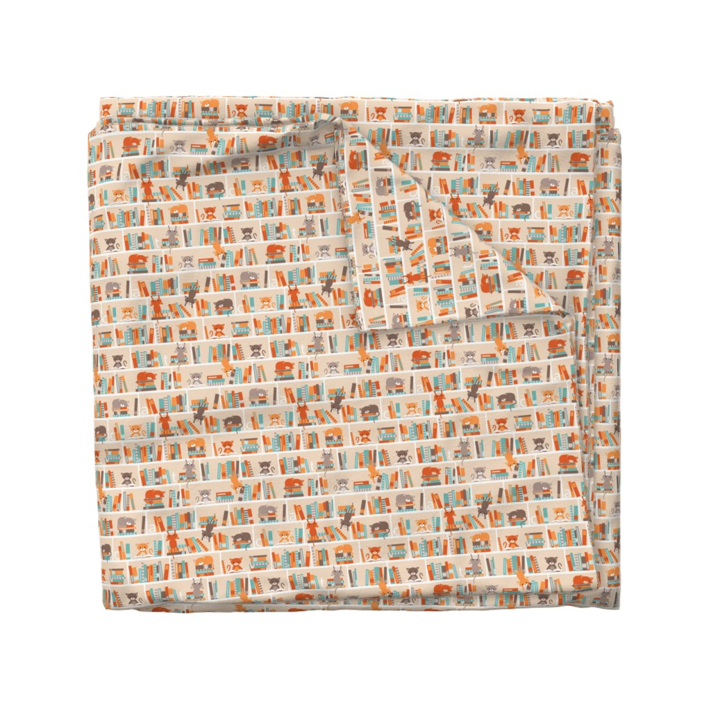 Wyandotte Duvet Cover featuring Library cats - small by heleenvanbuul