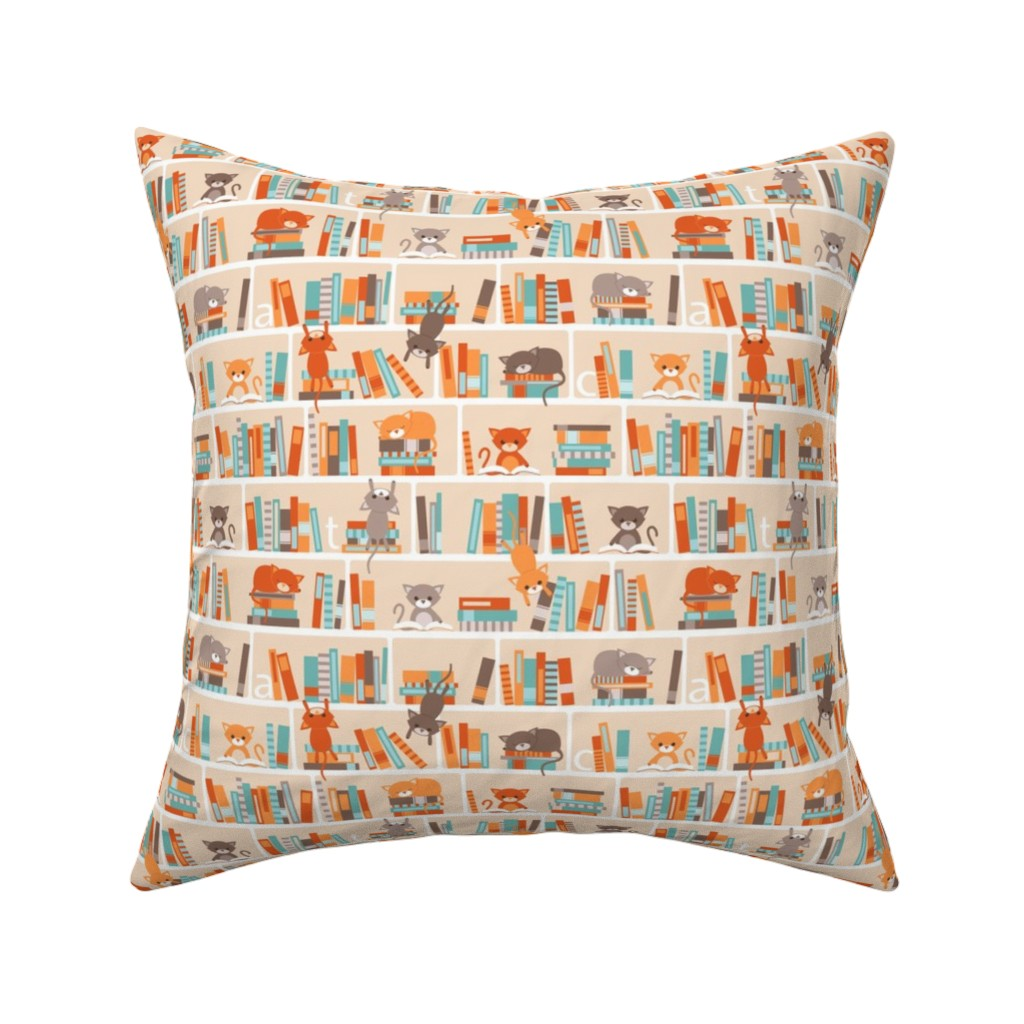 Catalan Throw Pillow featuring Library cats - small by heleenvanbuul