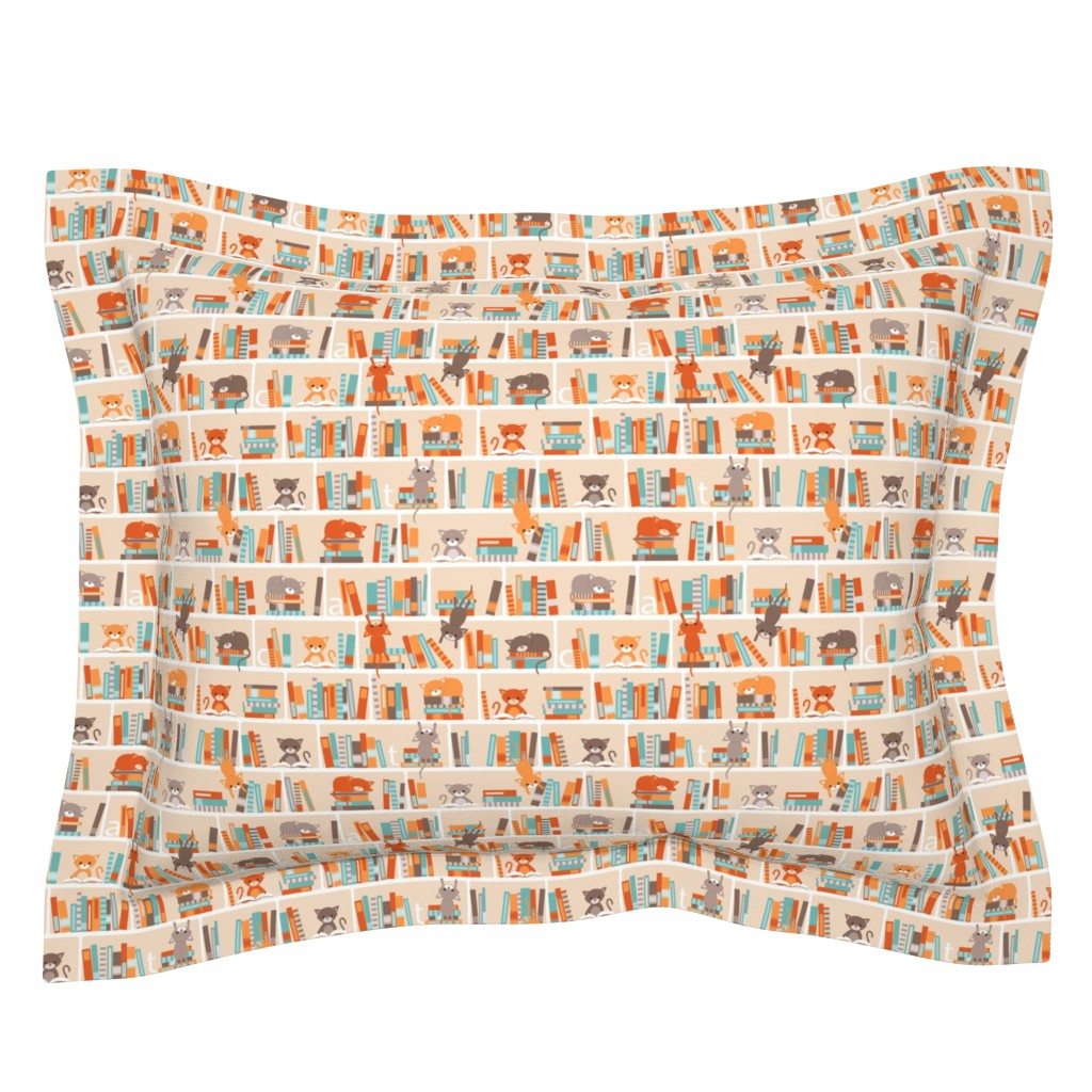 Sebright Pillow Sham featuring Library cats - small by heleenvanbuul