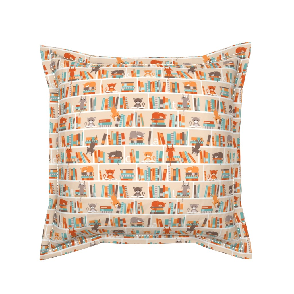 Serama Throw Pillow featuring Library cats - small by heleenvanbuul