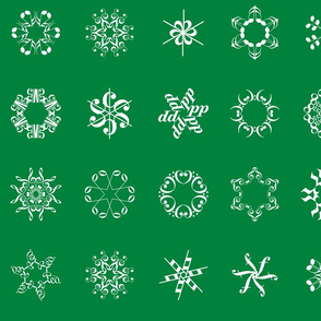 musical snowflakes large on deep green