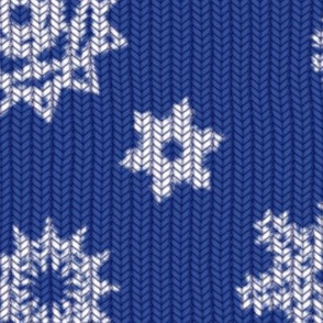 Holiday Snowflakes ~Faux Knit ~ Blue and White
