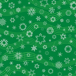 wind-blown musical snowflakes on deep green