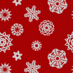 Holiday Snowflakes ~ Faux Knit ~ Richelieu and White